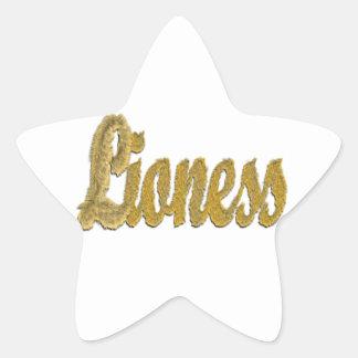 Lioness - Furry Text Star Sticker