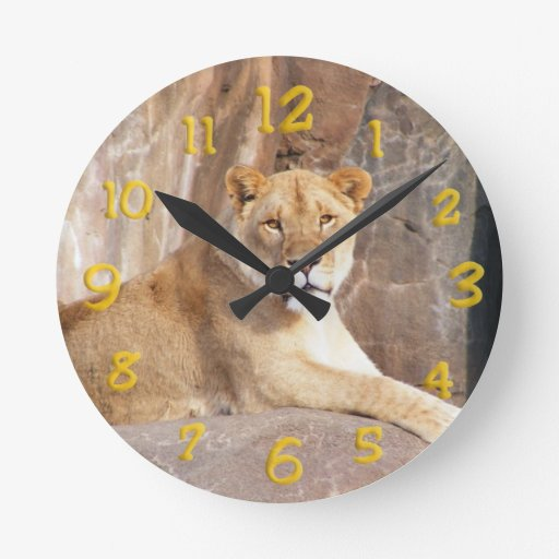 Lioness on the Rocks Round Wall Clock