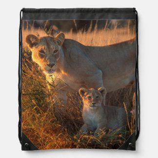Lioness (Panthera Leo) And Cub Drawstring Backpack