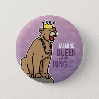 Lioness Queen of the Jungle, Add Child's Name Pinback Button