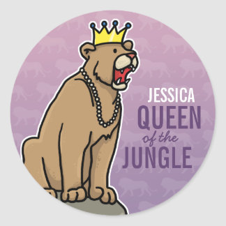 Lioness Queen of the Jungle, Add Child's Name Classic Round Sticker