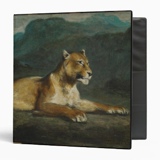 Lioness reclining, c.1855 (oil on panel) binder