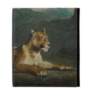 Lioness reclining, c.1855 (oil on panel) iPad folio cover