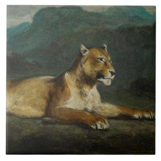Lioness reclining, c.1855 (oil on panel) ceramic tile