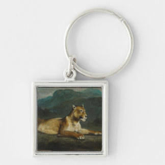 Lioness reclining, c.1855 (oil on panel) Silver-Colored square keychain