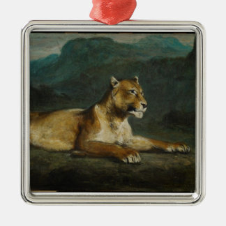 Lioness reclining, c.1855 (oil on panel) metal ornament