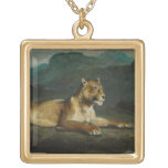 Lioness reclining, c.1855 (oil on panel) necklaces