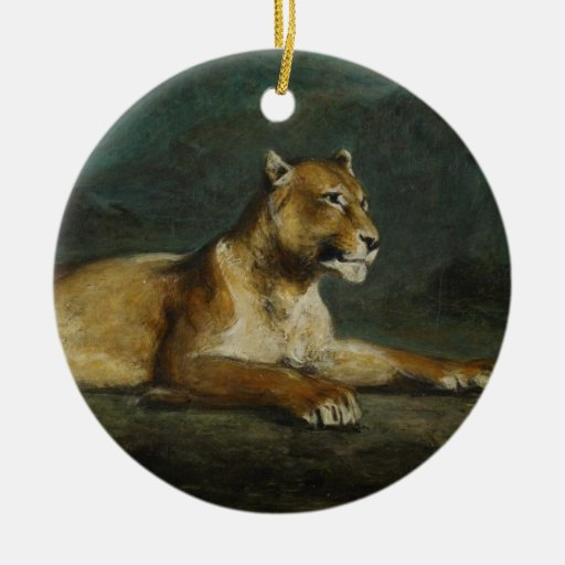 Lioness reclining, c.1855 (oil on panel) ornament