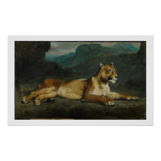 Lioness reclining, c.1855 (oil on panel) poster