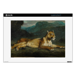 Lioness reclining, c.1855 (oil on panel) laptop skins