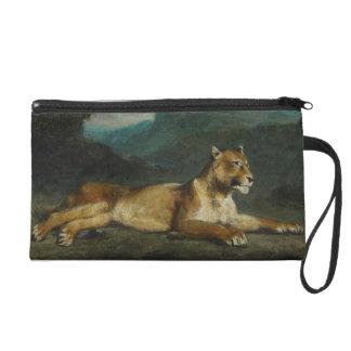 Lioness reclining, c.1855 (oil on panel) wristlet purses