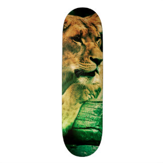 Lioness resting on a tree trunk skateboard deck
