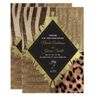 Lioness Safari Chic Jungle Glam Modern Wedding Invitation