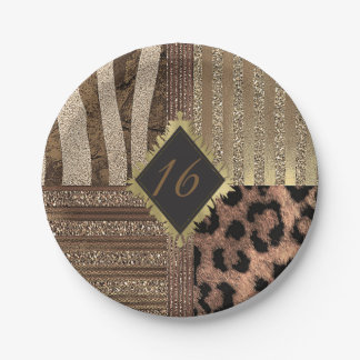 Lioness Safari Jungle Glam Modern Gold Sparkle Paper Plate