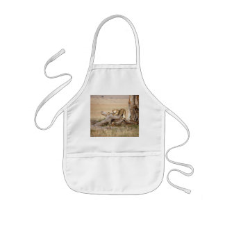 Lioness stretching kids' apron