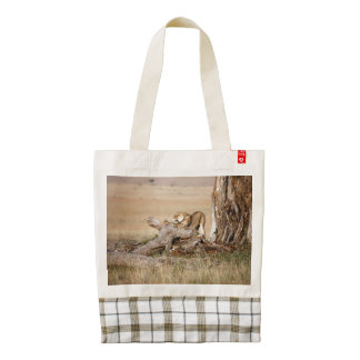 Lioness stretching zazzle HEART tote bag