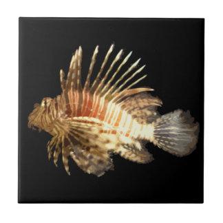 Lionfish en la oscuridad azulejo cuadrado pequeño