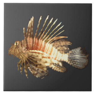 Lionfish in the dark large square tile