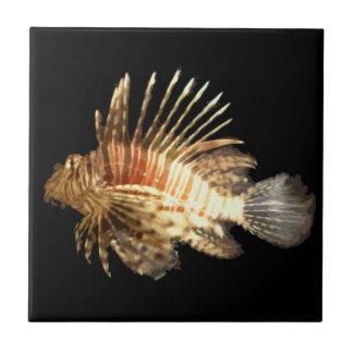 Lionfish in the dark small square tile