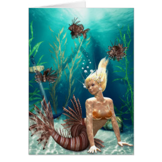 Lionfish Mermaid Greeting Card