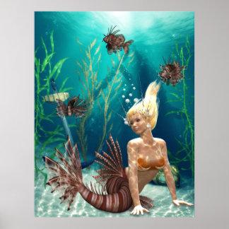 Lionfish Mermaid Poster