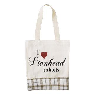 Lionhead rabbits zazzle HEART tote bag
