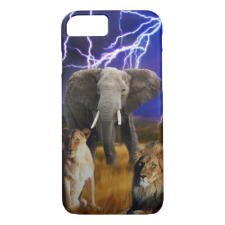 Lions and elephant in Africa iPhone 7 Case