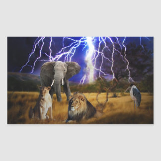 Lions and elephant in Africa Rectangular Sticker