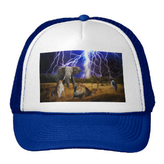 Lions and elephant in Africa Trucker Hat