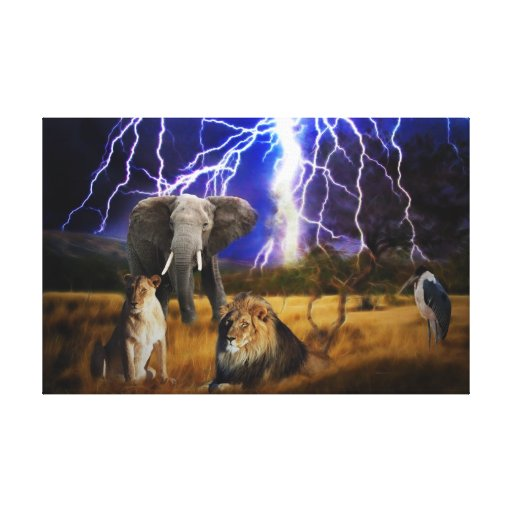 Lions and elephant in the bushveld stretched canvas prints