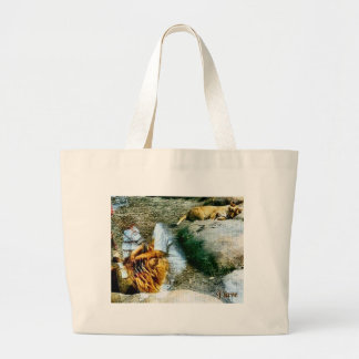 Lions and Reflections Large Tote Bag