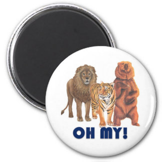 Lions and Tigers and Bears Oh My! 2 Inch Round Magnet