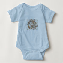 Lions and Triangles Patterned Baby Bodysuit