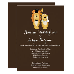 Lions Customized Wedding Invitation Brown