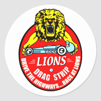 Lions Dragstrip Classic Round Sticker