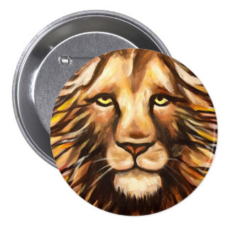 Lion's Face 3 Inch Round Button