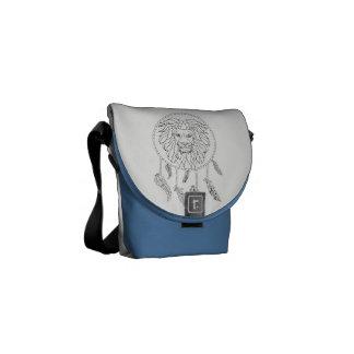 Lions face in dream catcher messenger bag