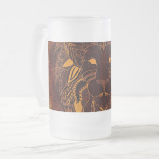 Lion's Head Frosted 16 oz Frosted Glass Mug