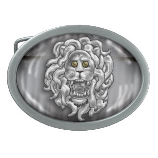 lion's head oval belt buckle