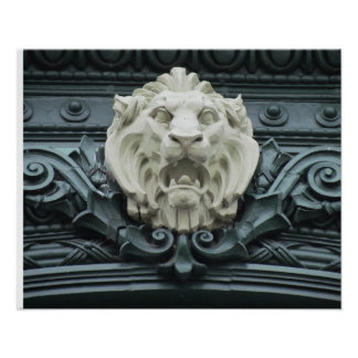 Lion's Head Trim on old house in Philadephia Poster