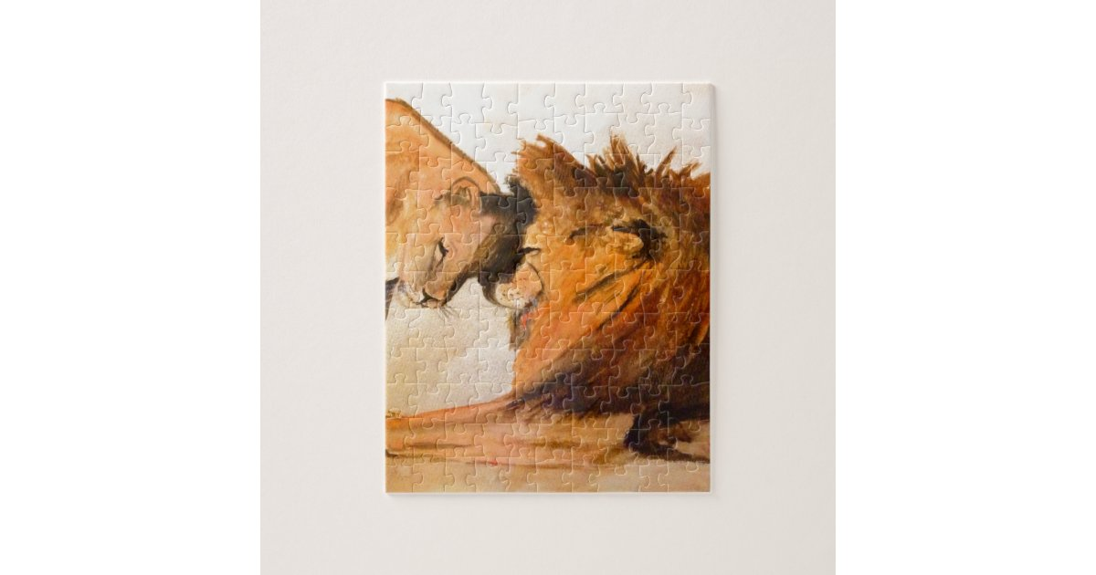 Lions in Love #2 Jigsaw Puzzle | Zazzle.com