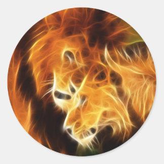 Lions in Love Classic Round Sticker