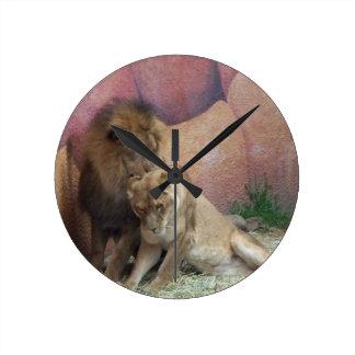 Lions in Love Round Clock