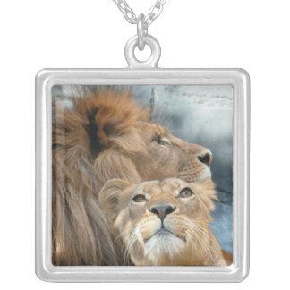 Lions Square Pendant Necklace