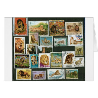 Lions on stamps card