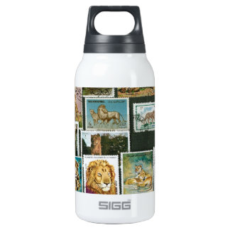 Lions on stamps insulated water bottle