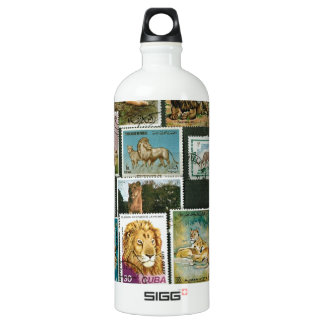 Lions on stamps water bottle