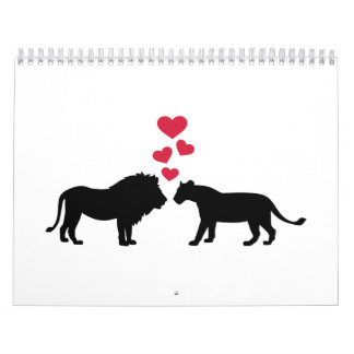 Lions red hearts love calendar