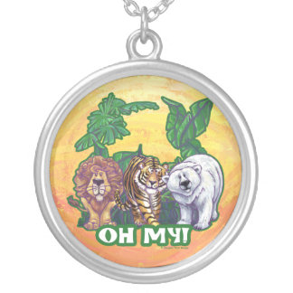 Lions Tiger Bears Oh My Silver Plated Necklace