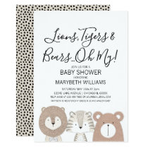 Lions Tigers & Bears Animal Baby Shower Party Card